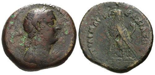Ancient Coins - VF/aVF Egypt Ptolemy III Euergetes AE20 / Rare Portrait Bronze