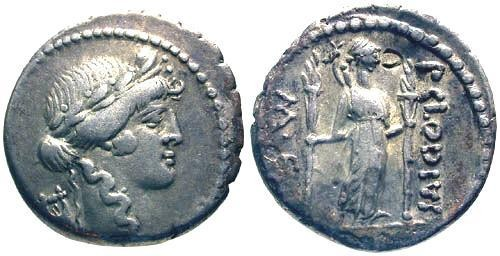 Ancient Coins - 42 BC / Claudia 15 Roman Republic Denarius / Diana Lucifera holding torches