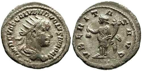 Ancient Coins - aVF/aVF Volusian Antoninianus / Uberitas / Missing letter in Legend
