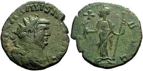 Ancient Coins - aVF/aVF Carausius Antoninianus / Pax / Green Patina and Nice Style