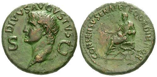 Ancient Coins - VF/VF Divvs Augustus Dupondius of Caligula / Caligula Seated