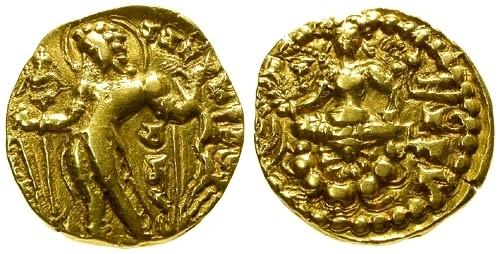 Ancient Coins - VF/VF India Guptas AV Dinar Chandragupta II