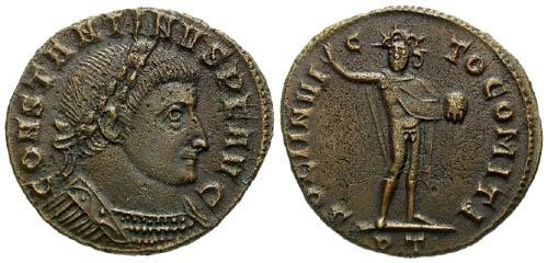 Ancient Coins - VF/VF Constantine I the Great AE / Sol Facing