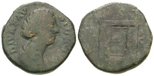 Ancient Coins - aF/aF Faustina II Diva Sestertius / Altar