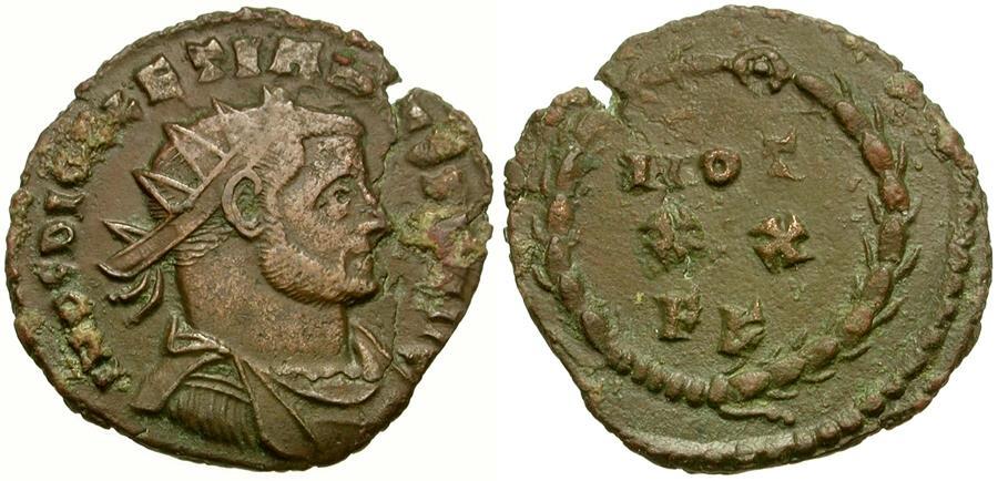 Ancient Coins - Diocletian (AD 284-305) Radiate Æ22 / Votive