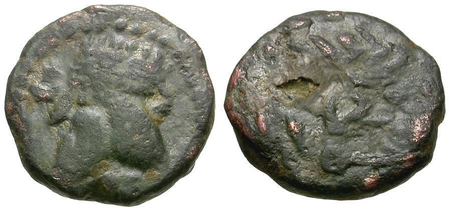 Ancient Coins - Kings of Parthia. Phraates IV (38-2 BC) Æ Chalkous / Palm