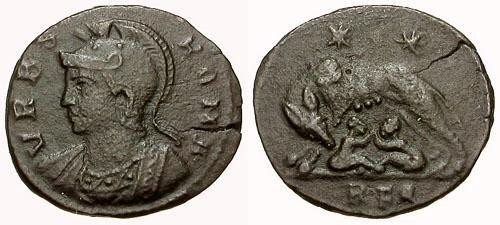 Ancient Coins - aVF/aVF VRBS ROMA Æ3 Commemorative / Wolf and Twins