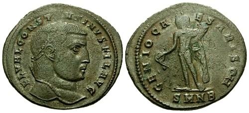 Ancient Coins - aVF/aVF Constantine I the Great as Filius Augustorum AE Follis / Genius