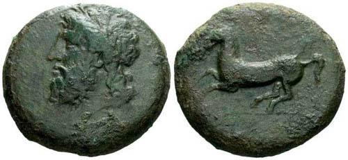 Ancient Coins - gF/gF Sicily Syracuse Time of Timoleon Dilitron / Horse