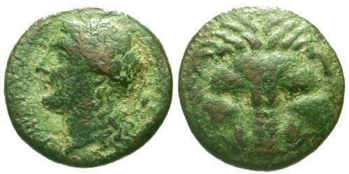 Ancient Coins - aVF/gVF Bruttium Rhegion AE19 / Lion Scalp