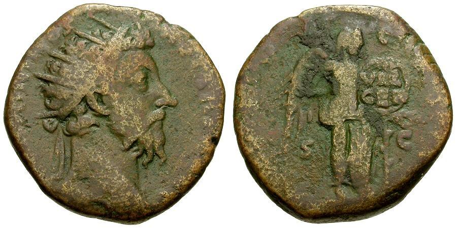 Ancient Coins - Marcus Aurelius Æ Dupondius / Victory with Shield
