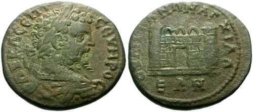 Ancient Coins - VFaVF Septimius Severus Thrace Anchialus AE27 / City gate