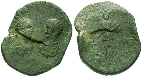 Ancient Coins - VF/VF Macrinus and Diadumenian Kibyra or Cibyra AE46 / Amazon RRR Flan Flaw