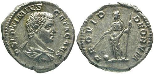 Ancient Coins - EF/gVF Geta as Caesar Denarius / Providence