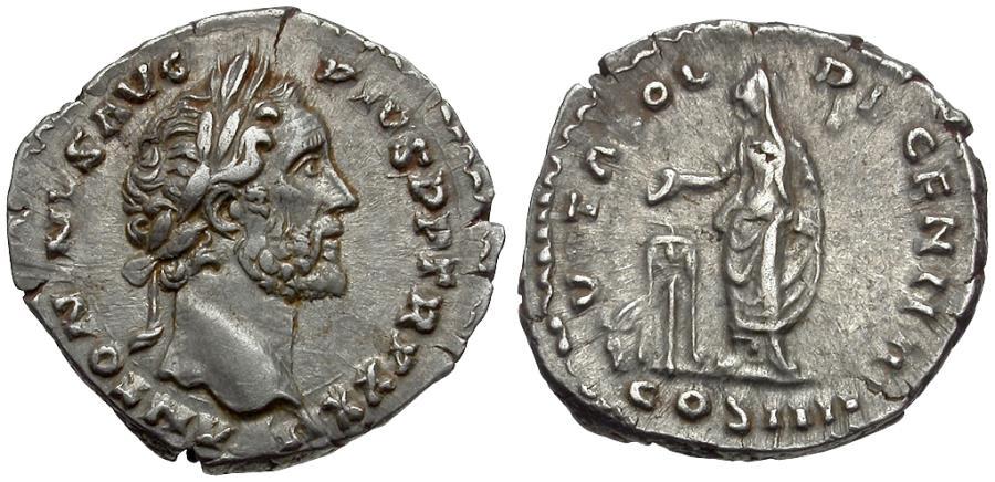 Ancient Coins - Antoninus Pius (AD 138-161) AR Denarius / Emperor Sacrificing