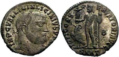 Ancient Coins - aEF Licinius I follis, Jupiter stnd. Lt. holding Victory on globe and scepter