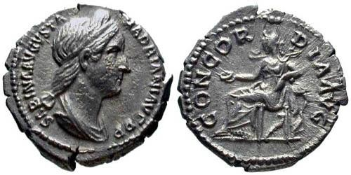 Ancient Coins - VF/VF Sabina Denarius / Concordia