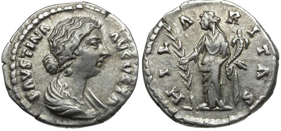 Ancient Coins - Faustina II (AD 147-175) AR Denarius / Hilaritas