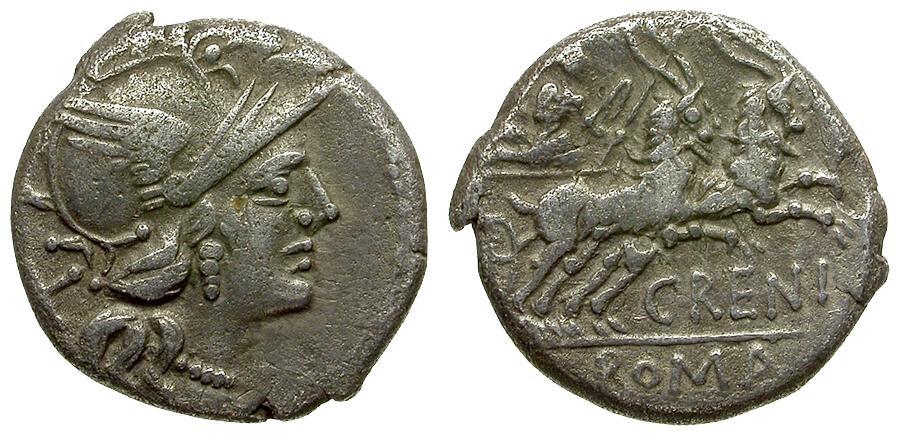 Ancient Coins - 138 BC - Roman Republic C. Renius AR Denarius / Biga of Goats