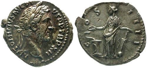 Ancient Coins - VF/VF Antoninus Pius Denarius / Salus