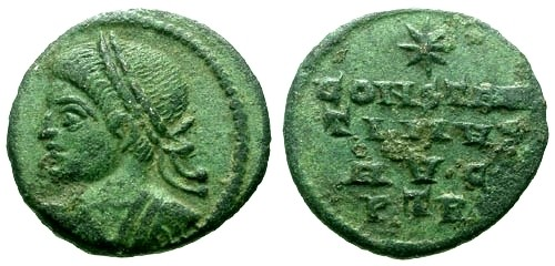 Ancient Coins - EF/EF Constantine I the Great AE Fractional Mule / Legend with star above