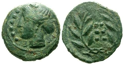 Ancient Coins - aVF/aVF Sicily Himera AE Hemilitron / Nymph / Laurel wreath