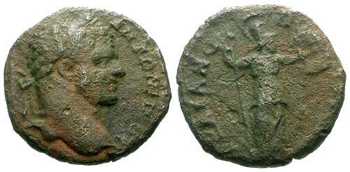 Ancient Coins - F/F Caracalla Thrace Trajanopolis AE15 / Soldier