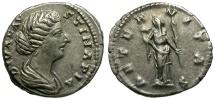 Ancient Coins - Faustina II AR Denarius / Aeternitas