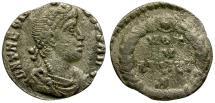 Ancient Coins - Theodosius I AR Siliqua / Votive Wreath