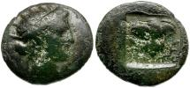 Ancient Coins - Caria. Rhodos Æ13 / Helios and Rose
