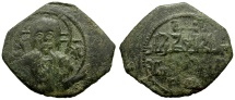 World Coins - Italy.  Sicily (Regno), Ruggero II Æ Follaro, Messina Mint / Bust of Christ