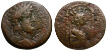 Ancient Coins - Commodus. Seleucis and Pieria. Laodicea ad Mare Æ25 / Bust of Tyche in Shrine