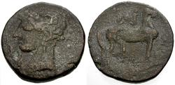 Ancient Coins - aVF/aVF Zeugitania, Carthage Billon Tridrachm / Tanit / Horse, with Uraeus