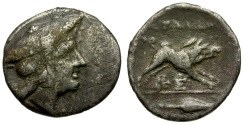 Ancient Coins - Aetolia. Aetolian League AR Triobol / Boar