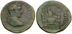 Ancient Coins - Macrinus (AD 217-218) Moesia Inferior. Nicopolis ad Istrum Ӕ28 / Eagle on Altar