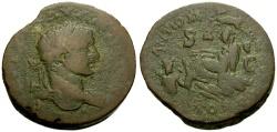 Ancient Coins - Elagabalus, Syria, Seleucia and Pieria, Antioch Æ32 / Tyche and River god