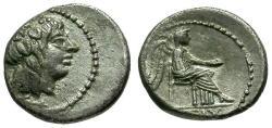 Ancient Coins - aEF/VF 89 BC - Roman Republic M. Cato AR Quinarius / Bacchus