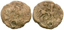 Ancient Coins - Celtic Tribes. Danube Region. Imitative of Philip II (359-336 BC) of Macedon Lead Drachm / Horse and Rider
