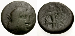 Ancient Coins - F/F Boeotia, Thebes Æ16 / Persephone / Poseidon