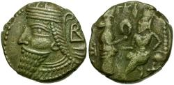 Ancient Coins - Kings of Parthia. Vologases IV Billon Tetradrachm / Tyche Presenting Wreath to King