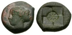 Ancient Coins - VF/VF Syracuse Second Democracy Æ Hemilitron / Arethusa and Incuse