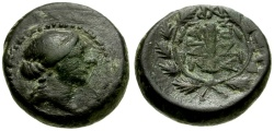 Ancient Coins - Lydia, Sardes Æ15 / Apollo / Club in Wreath