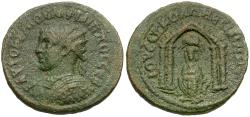 Ancient Coins - Philip II, as Caesar (AD 244-247). Mesopotamia. Nisibis Æ25 / Tyche in Temple