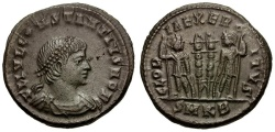 Ancient Coins - Constantius II as Caesar Æ Follis / Soldiers and Standards