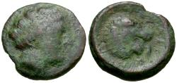 Ancient Coins - Thessaly. Pherai Æ17 / Lion Fountain