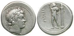 Ancient Coins - 82 BC - Roman Republic. L. Marcius Censorinus AR Denarius / Marsyas