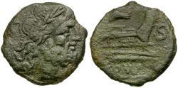 Ancient Coins - 206-195 BC - Roman Republic Æ Semis / Rostrum Tridens series