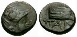 Ancient Coins - VF/VF Cimmerian Bosporus, Pantikapaion Æ12 / Athena / Prow