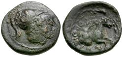 Ancient Coins - Thessaly. Orthe Æ15 / Horse Emerging from Rock