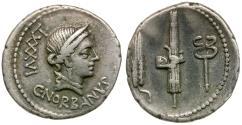Ancient Coins - 83 BC - Roman Republic. C. Norbanus AR Denarius / Grain ear, Fasces and Caduceus